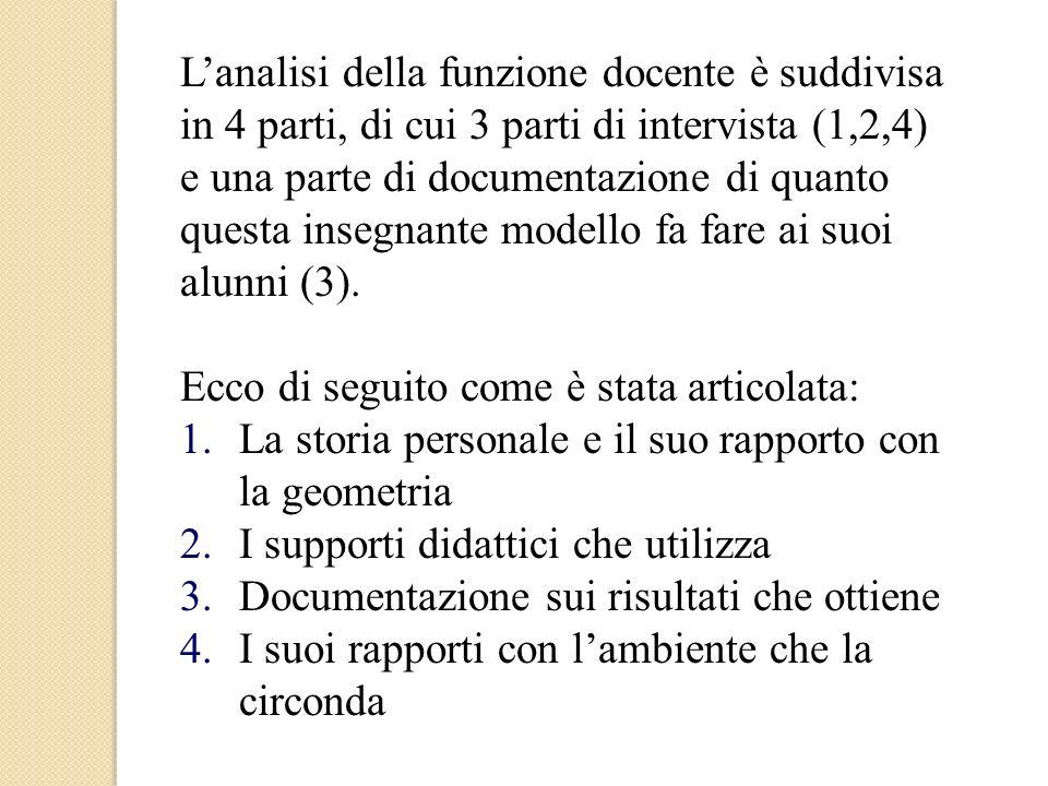 Lanalisi della funzione docente è suddivisa in 4 parti, di cui 3 parti di intervista (1,2,4) e una parte di documentazione di quanto questa insegnante