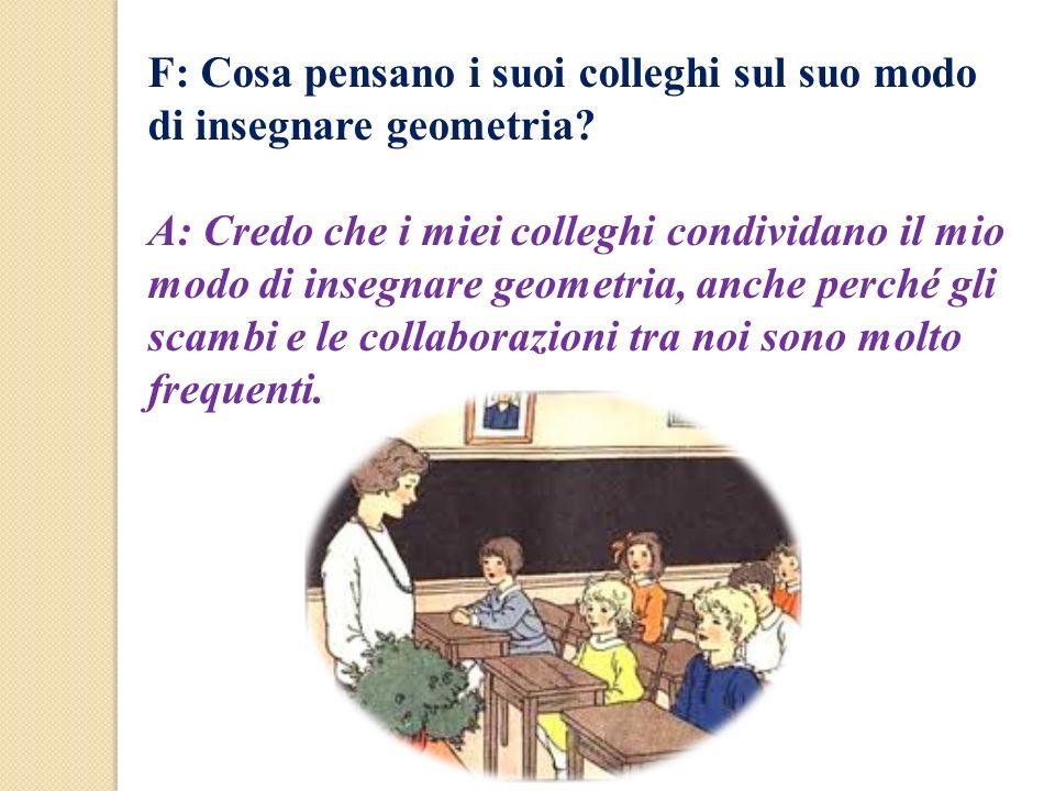 F: Cosa pensano i suoi colleghi sul suo modo di insegnare geometria? A: Credo che i miei colleghi condividano il mio modo di insegnare geometria, anch