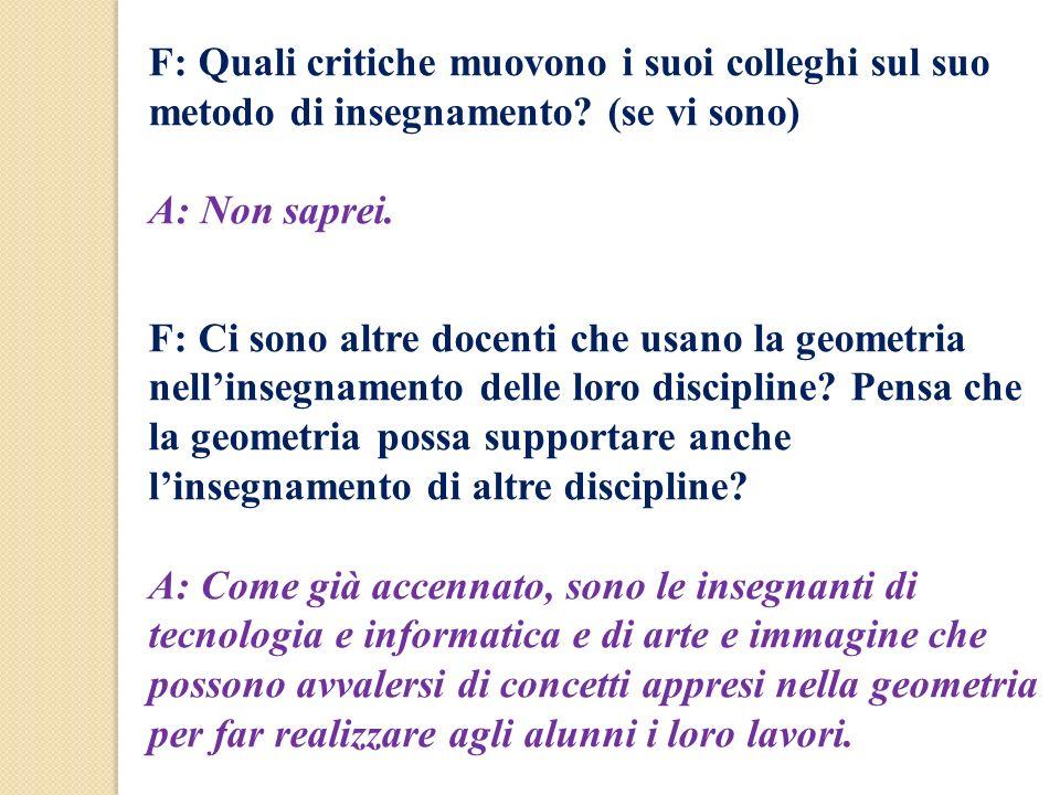 F: Quali critiche muovono i suoi colleghi sul suo metodo di insegnamento? (se vi sono) A: Non saprei. F: Ci sono altre docenti che usano la geometria