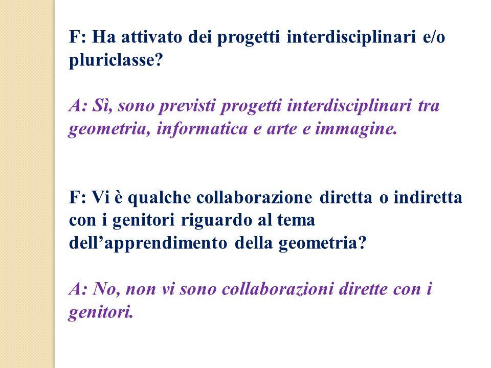 F: Ha attivato dei progetti interdisciplinari e/o pluriclasse? A: Sì, sono previsti progetti interdisciplinari tra geometria, informatica e arte e imm