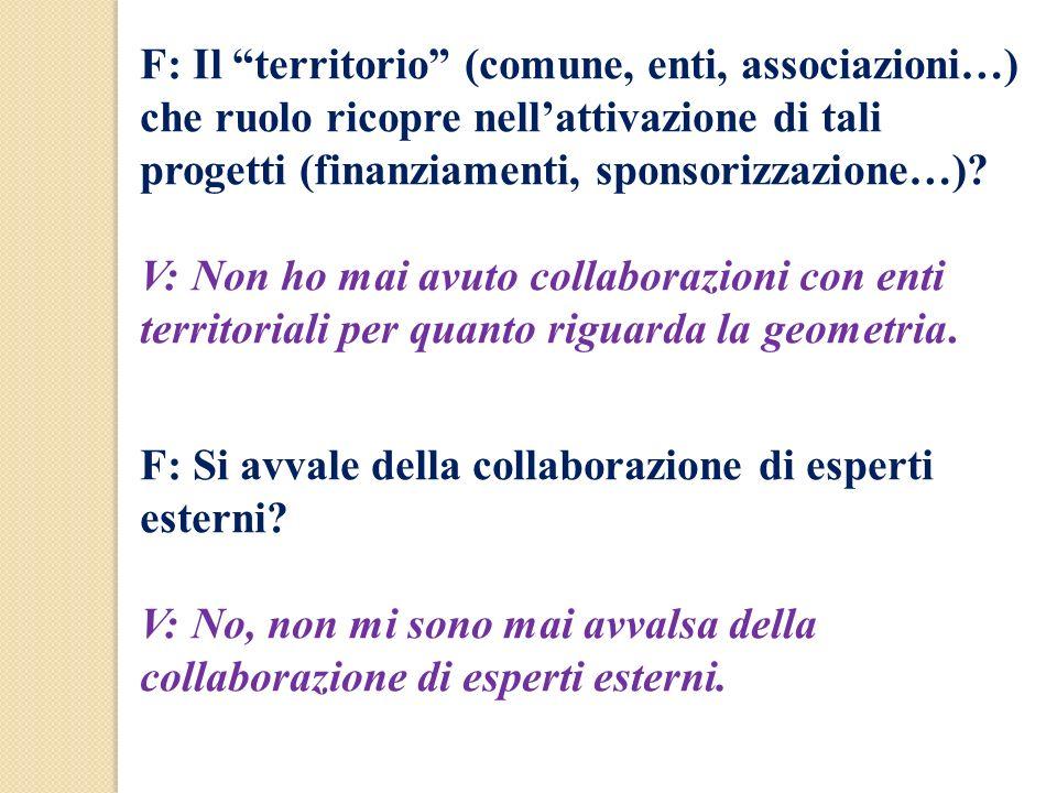 F: Il territorio (comune, enti, associazioni…) che ruolo ricopre nellattivazione di tali progetti (finanziamenti, sponsorizzazione…)? V: Non ho mai av