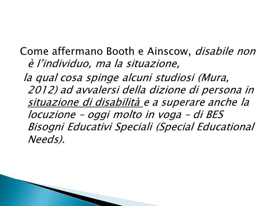 Come affermano Booth e Ainscow, disabile non è lindividuo, ma la situazione, la qual cosa spinge alcuni studiosi (Mura, 2012) ad avvalersi della dizio