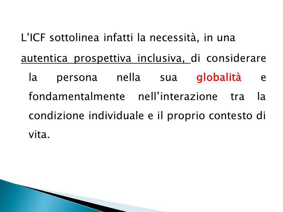 LICF sottolinea infatti la necessità, in una autentica prospettiva inclusiva, di considerare la persona nella sua globalità e fondamentalmente nellint