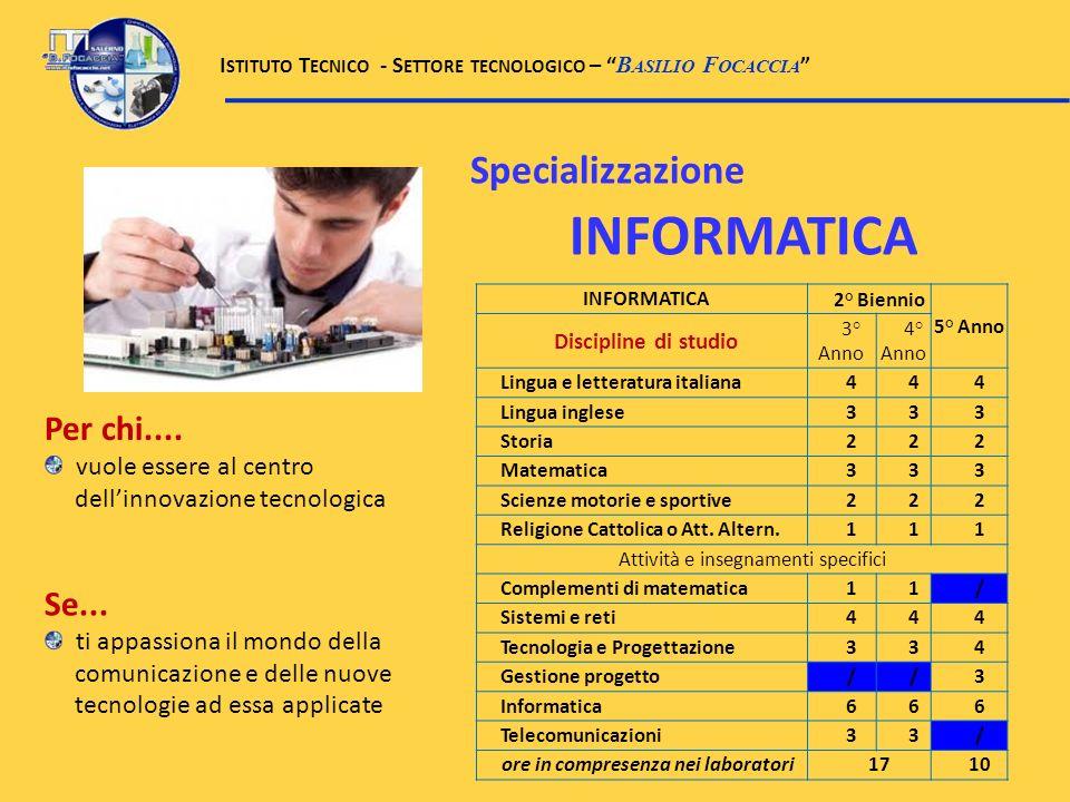 Specializzazione INFORMATICA INFORMATICA2° Biennio 5° Anno Discipline di studio 3° Anno 4° Anno Lingua e letteratura italiana444 Lingua inglese333 Sto