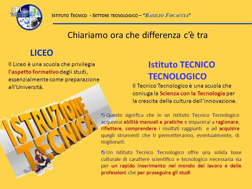 Il Tecnico Tecnologico è una scuola che coniuga la Scienza con la Tecnologia per la crescita della cultura dellinnovazione. Un Istituto Tecnico Tecnol