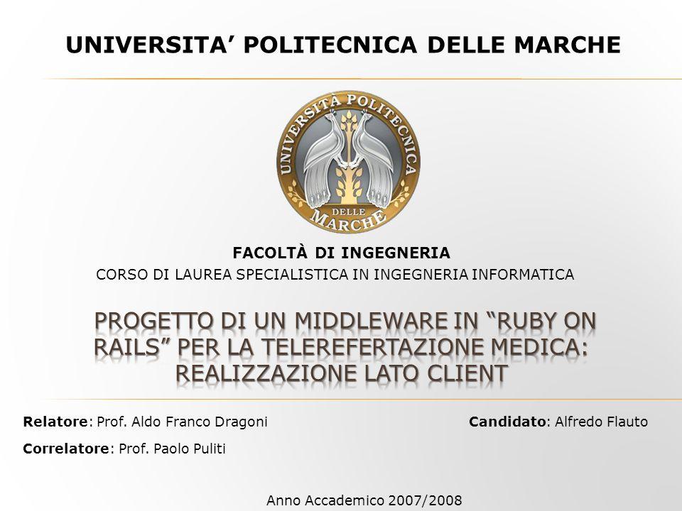 UNIVERSITA POLITECNICA DELLE MARCHE Candidato: Alfredo Flauto CORSO DI LAUREA SPECIALISTICA IN INGEGNERIA INFORMATICA FACOLTÀ DI INGEGNERIA Relatore: