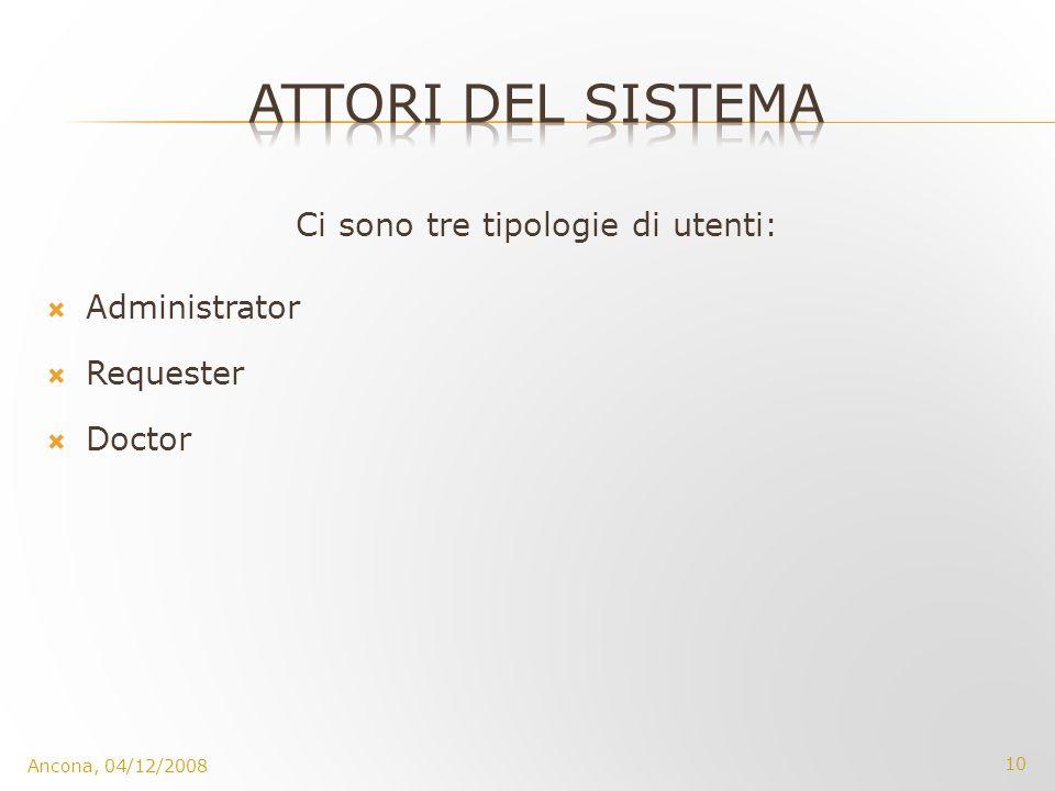 Ci sono tre tipologie di utenti: Administrator Requester Doctor Ancona, 04/12/2008 10