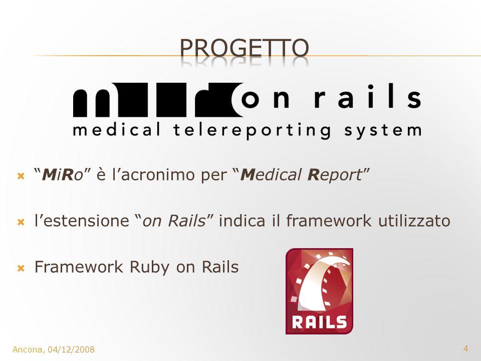 4 MiRo è lacronimo per Medical Report lestensione on Rails indica il framework utilizzato Framework Ruby on Rails
