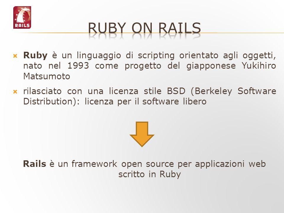 Ruby è un linguaggio di scripting orientato agli oggetti, nato nel 1993 come progetto del giapponese Yukihiro Matsumoto rilasciato con una licenza sti