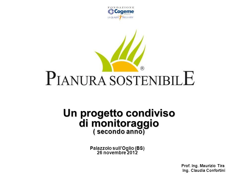 Un progetto condiviso di monitoraggio ( secondo anno) Palazzolo sullOglio (BS) 26 novembre 2012 Prof. Ing. Maurizio Tira Ing. Claudia Confortini