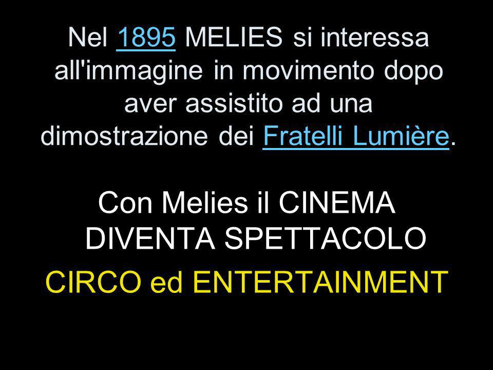 Nel 1895 MELIES si interessa all immagine in movimento dopo aver assistito ad una dimostrazione dei Fratelli Lumière.1895Fratelli Lumière Con Melies il CINEMA DIVENTA SPETTACOLO CIRCO ed ENTERTAINMENT