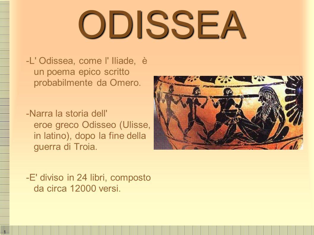 1ODISSEA -L Odissea, come l Iliade, è un poema epico scritto probabilmente da Omero.