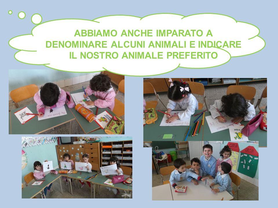ABBIAMO ANCHE IMPARATO A DENOMINARE ALCUNI ANIMALI E INDICARE IL NOSTRO ANIMALE PREFERITO