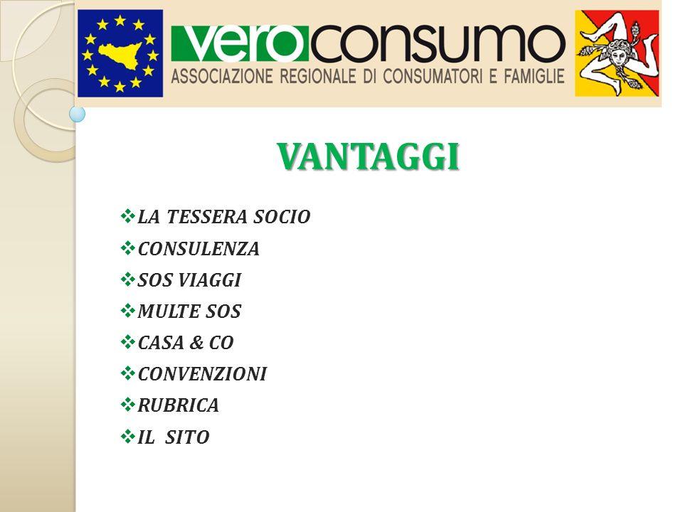 LA TESSERA SOCIO La Tessera è la prova tangibile della Vostra appartenenza all Associazione Regionale di Consumatori e famiglie siciliane, Veroconsumo.