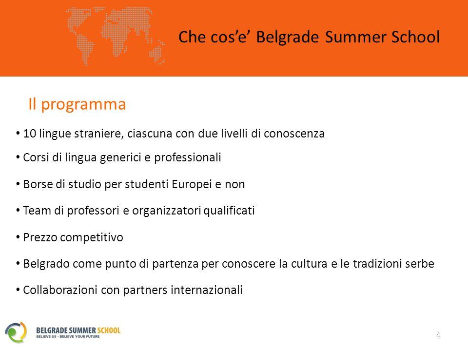 Il programma – I corsi Belgrade Summer School 15 I corsi a BSS sono organizzati in modo tale da permettere ai nostri partecipanti di usare le loro conoscenze linguistiche, che avranno la possibilità di migliorare, nella vita di ogni giorno.