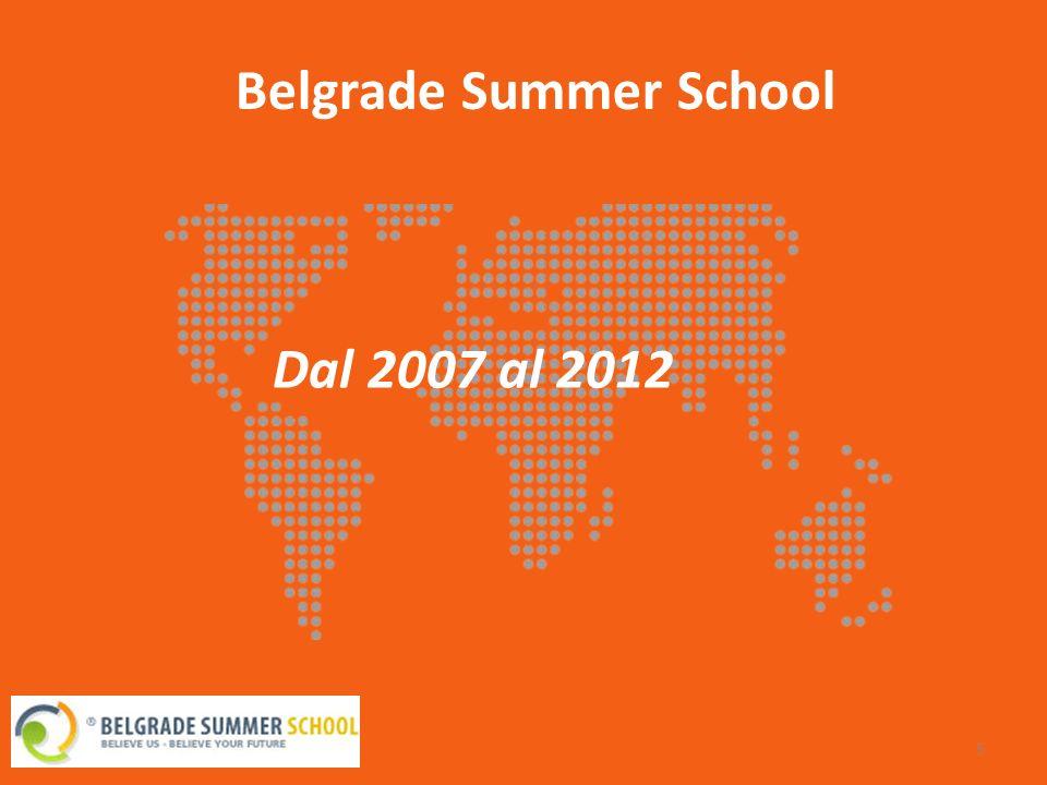 Belgrade Summer School 6 Fondato: Gennaio 2007 dal team organizzativo di International Communication Fund (ICF) E supportato dalla scuola di lingue Concord (una delle prime scuole di lingue private di Belgrado, fondata nel 1995) Nel 2008 Telekom Srbija è stato lo sponsor ufficiale dell evento, e in quell anno sono state firmate molte collaborazioni internazionali.