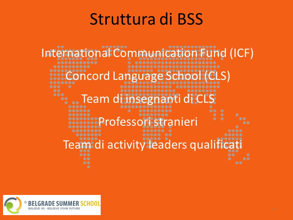 Struttura di BSS 7 International Communication Fund (ICF) Concord Language School (CLS) Team di insegnanti di CLS Professori stranieri Team di activity leaders qualificati
