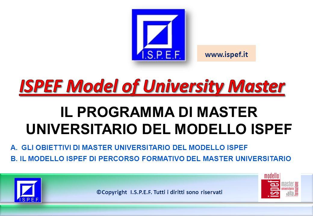 www.ispef.it IL PROGRAMMA DI MASTER UNIVERSITARIO DEL MODELLO ISPEF ©Copyright I.S.P.E.F.