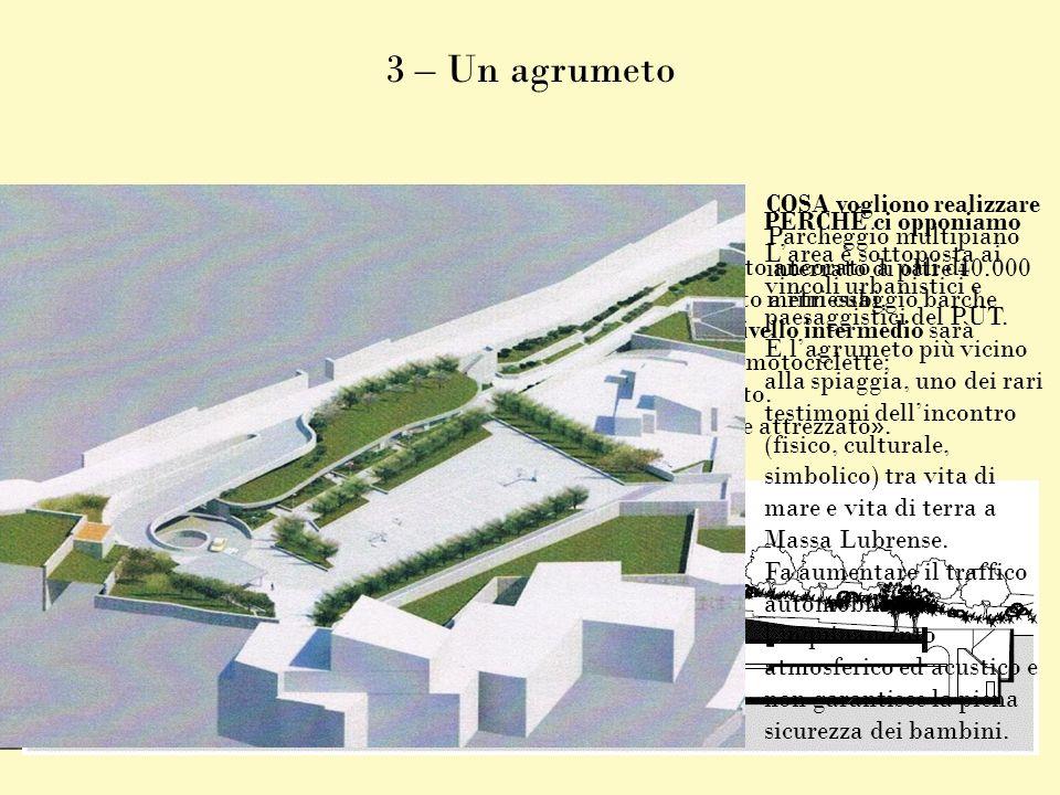 3 – Un agrumeto COSA vogliono realizzare Parcheggio multipiano interrato di oltre 40.000 metri cubi. COME vogliono farlo Si tratta di un parallelepipe