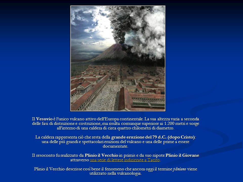Il Vesuvio è lunico vulcano attivo dellEuropa continentale. La sua altezza varia a seconda delle fasi di distruzione e costruzione, ma risulta comunqu