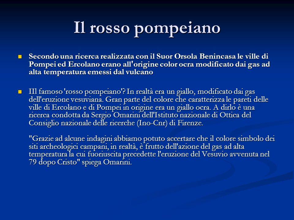 Il rosso pompeiano Secondo una ricerca realizzata con il Suor Orsola Benincasa le ville di Pompei ed Ercolano erano all'origine color ocra modificato