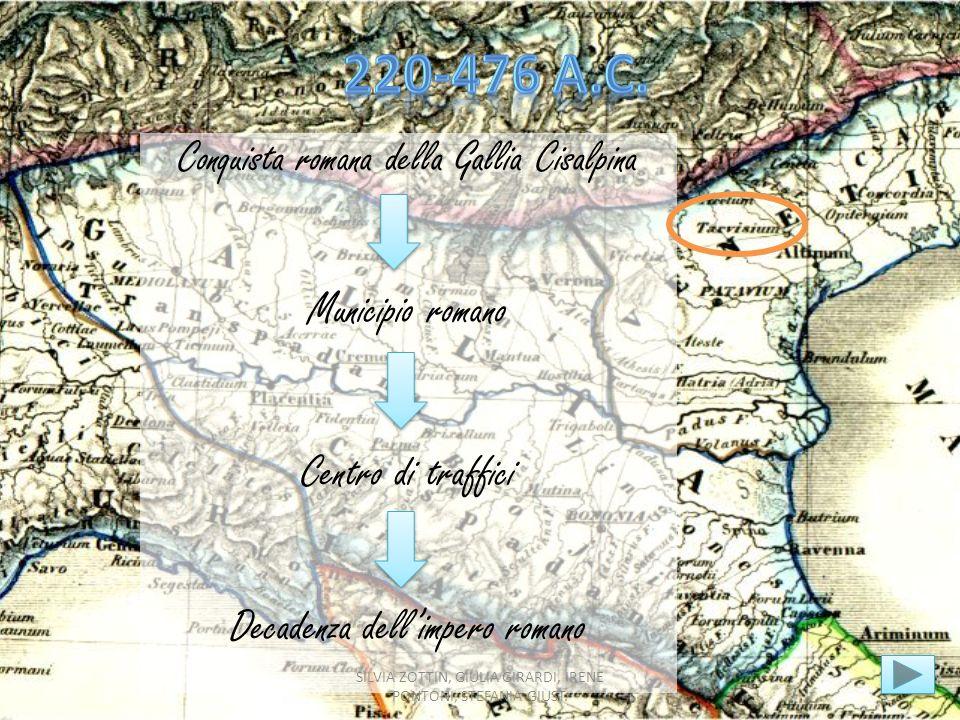 Conquista romana della Gallia Cisalpina Municipio romano Centro di traffici Decadenza dellimpero romano SILVIA ZOTTIN, GIULIA GIRARDI, IRENE PONTONI,