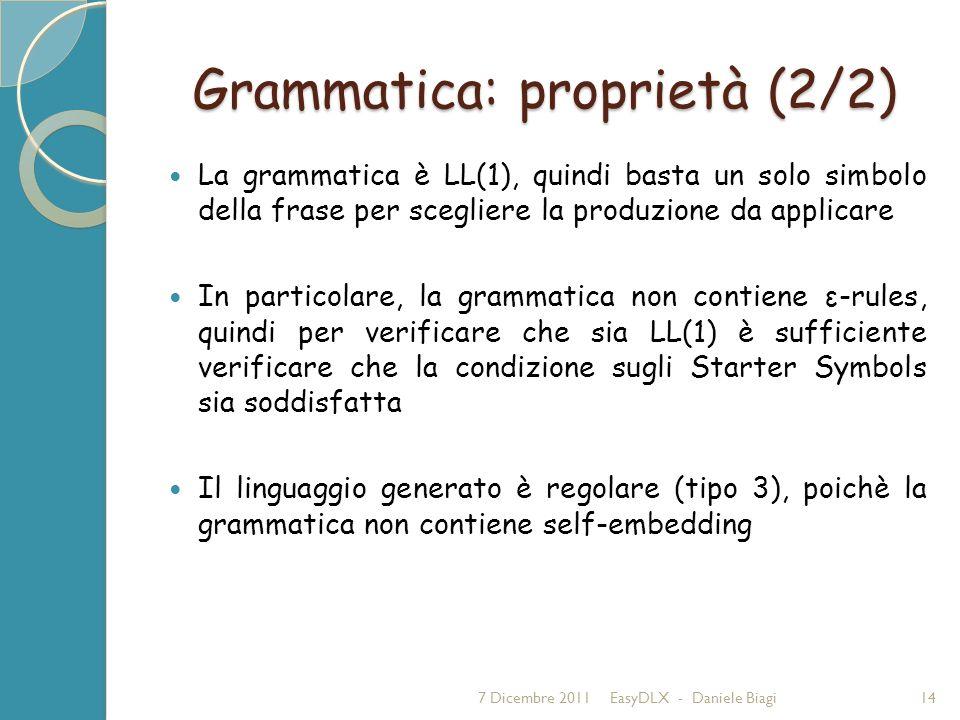 Grammatica: proprietà (2/2) La grammatica è LL(1), quindi basta un solo simbolo della frase per scegliere la produzione da applicare In particolare, la grammatica non contiene ε-rules, quindi per verificare che sia LL(1) è sufficiente verificare che la condizione sugli Starter Symbols sia soddisfatta Il linguaggio generato è regolare (tipo 3), poichè la grammatica non contiene self-embedding 7 Dicembre 2011EasyDLX - Daniele Biagi14