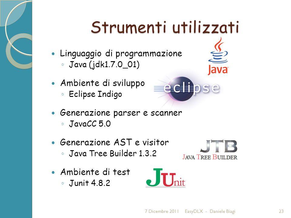Strumenti utilizzati Linguaggio di programmazione Java (jdk1.7.0_01) Ambiente di sviluppo Eclipse Indigo Generazione parser e scanner JavaCC 5.0 Generazione AST e visitor Java Tree Builder 1.3.2 Ambiente di test Junit 4.8.2 7 Dicembre 2011EasyDLX - Daniele Biagi23