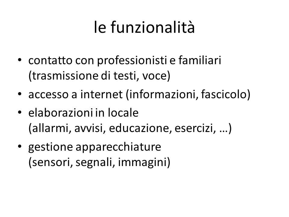 le funzionalità contatto con professionisti e familiari (trasmissione di testi, voce) accesso a internet (informazioni, fascicolo) elaborazioni in loc