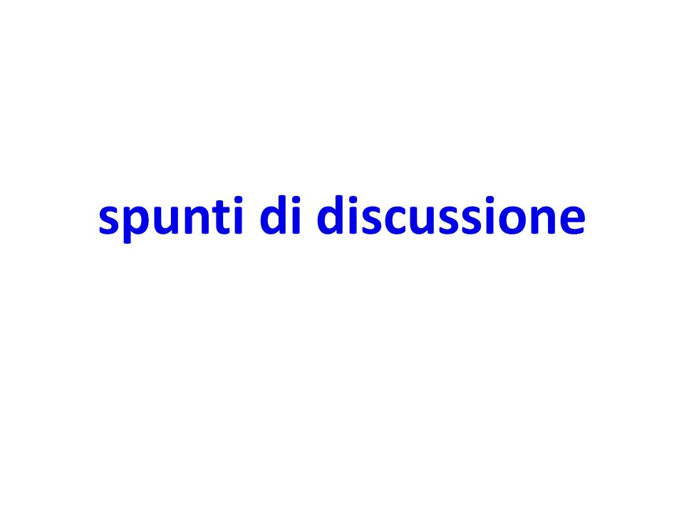 spunti di discussione