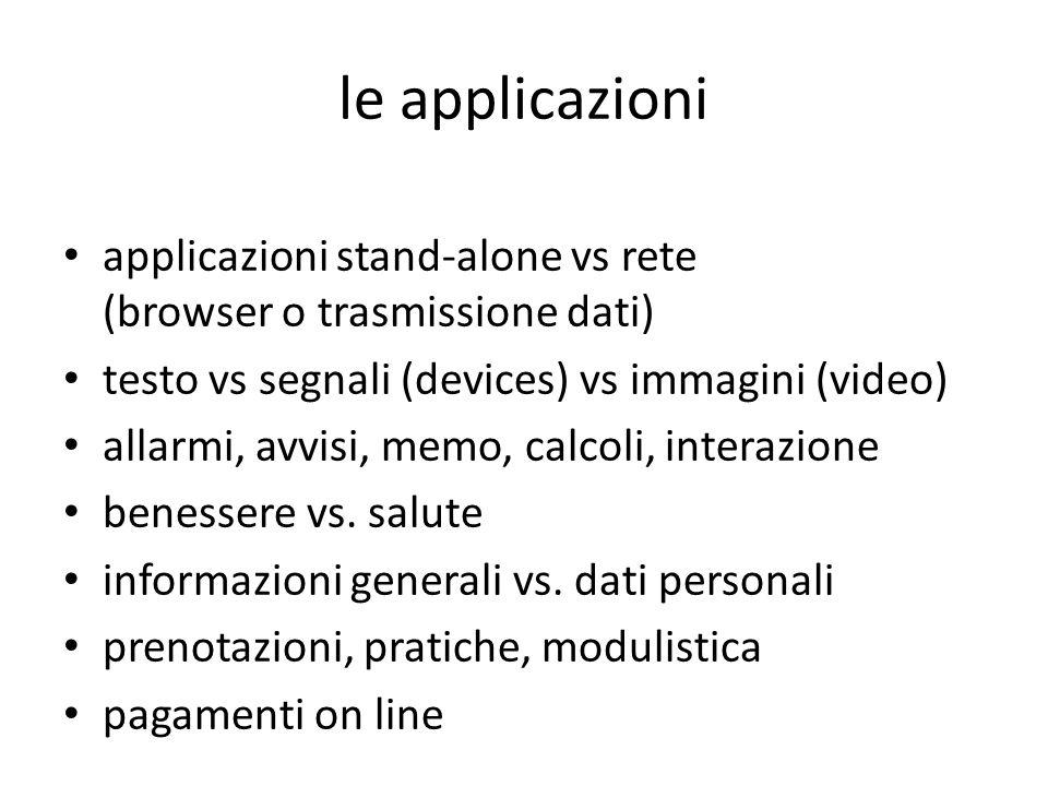 le applicazioni applicazioni stand-alone vs rete (browser o trasmissione dati) testo vs segnali (devices) vs immagini (video) allarmi, avvisi, memo, calcoli, interazione benessere vs.