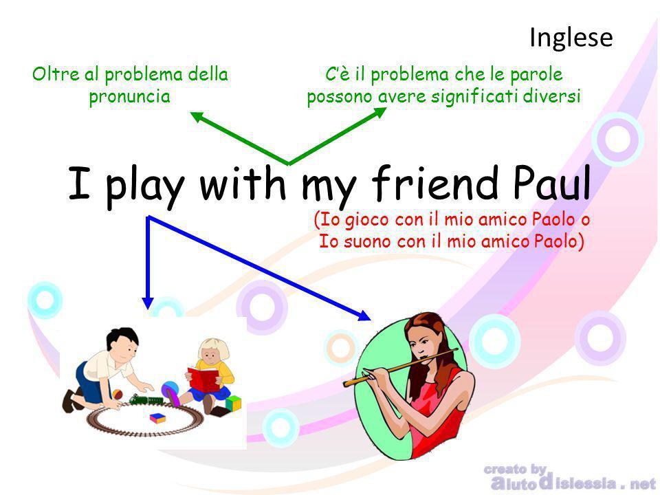 Inglese Oltre al problema della pronuncia I play with my friend Paul Cè il problema che le parole possono avere significati diversi (Io gioco con il m