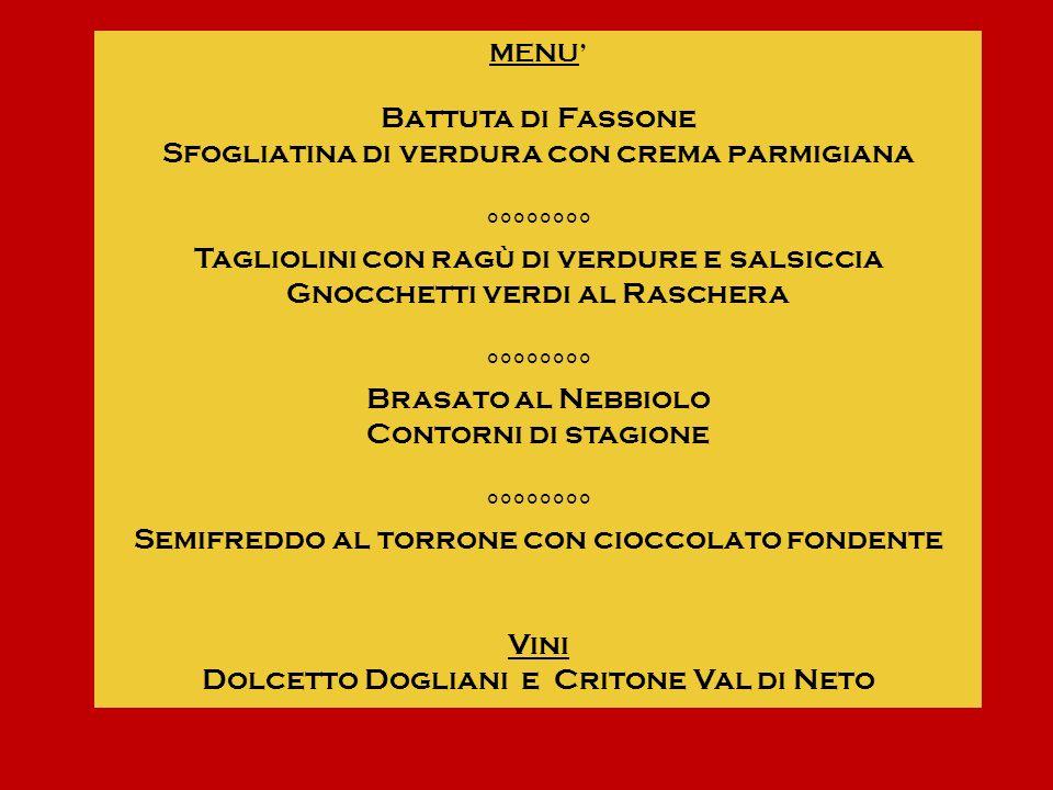 MENU Battuta di Fassone Sfogliatina di verdura con crema parmigiana °°°°°°°° Tagliolini con ragù di verdure e salsiccia Gnocchetti verdi al Raschera °