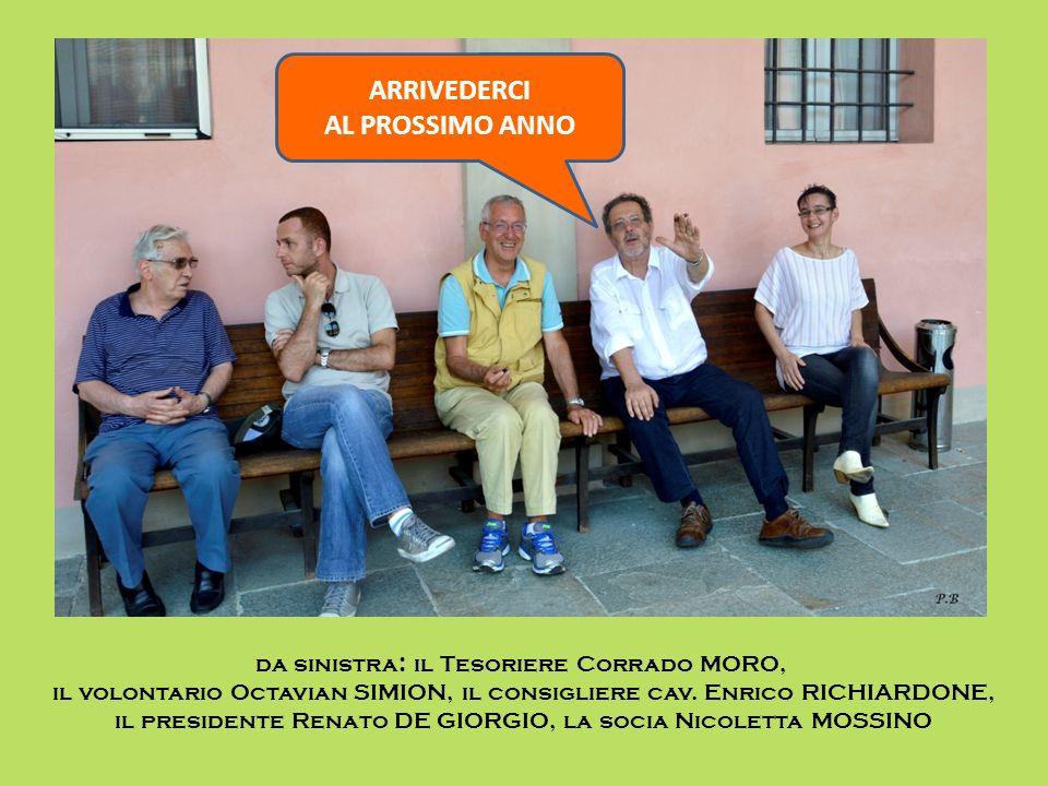 da sinistra : il Tesoriere Corrado MORO, il volontario Octavian SIMION, il consigliere cav. Enrico RICHIARDONE, il presidente Renato DE GIORGIO, la so