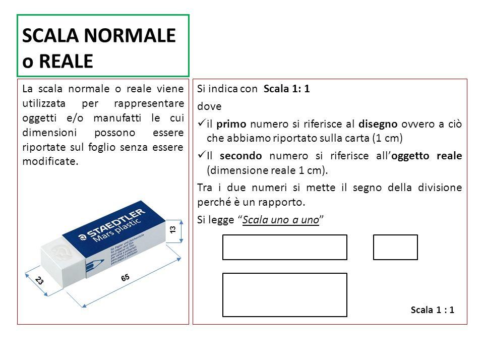 SCALA NORMALE o REALE La scala normale o reale viene utilizzata per rappresentare oggetti e/o manufatti le cui dimensioni possono essere riportate sul foglio senza essere modificate.