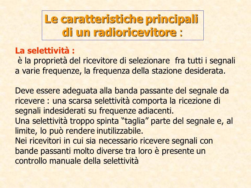 La selettività : è la proprietà del ricevitore di selezionare fra tutti i segnali a varie frequenze, la frequenza della stazione desiderata. Deve esse