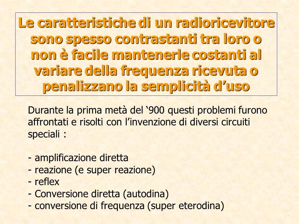 Le caratteristiche di un radioricevitore sono spesso contrastanti tra loro o non è facile mantenerle costanti al variare della frequenza ricevuta o pe