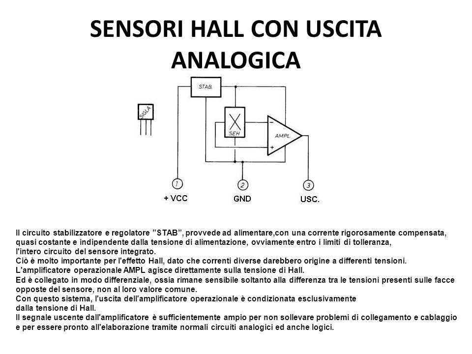 SENSORI HALL CON USCITA ANALOGICA Il circuito stabilizzatore e regolatore STAB, provvede ad alimentare,con una corrente rigorosamente compensata, quas