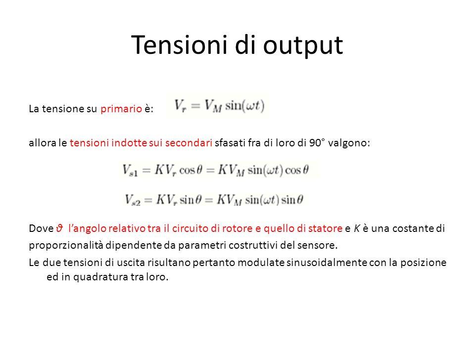 Tensioni di output La tensione su primario è: allora le tensioni indotte sui secondari sfasati fra di loro di 90° valgono: Dove θ langolo relativo tra