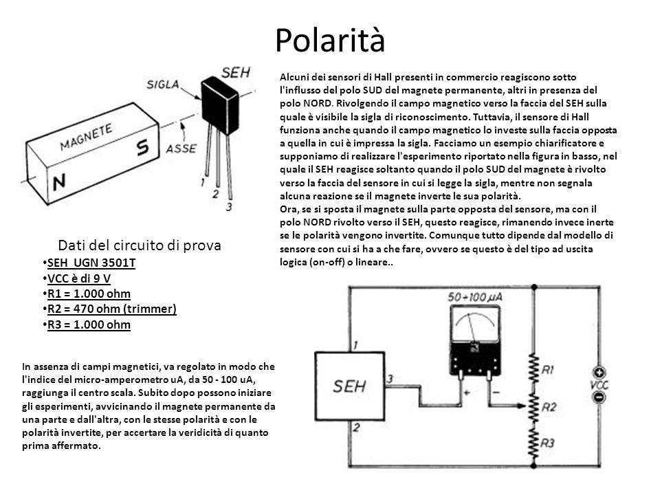 Polarità Dati del circuito di prova SEH UGN 3501T VCC è di 9 V R1 = 1.000 ohm R2 = 470 ohm (trimmer) R3 = 1.000 ohm Alcuni dei sensori di Hall present