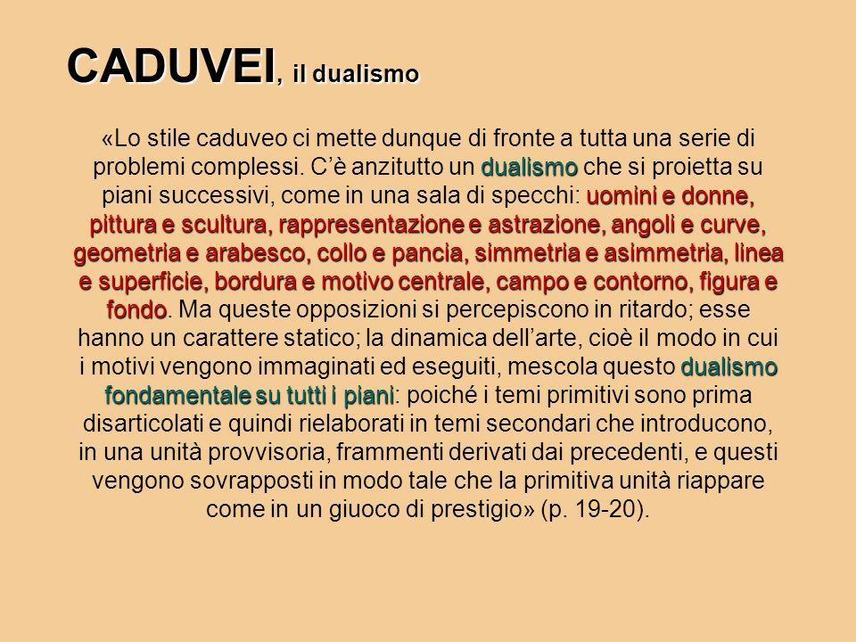 dualismo uomini e donne, pittura e scultura, rappresentazione e astrazione, angoli e curve, geometria e arabesco, collo e pancia, simmetria e asimmetr