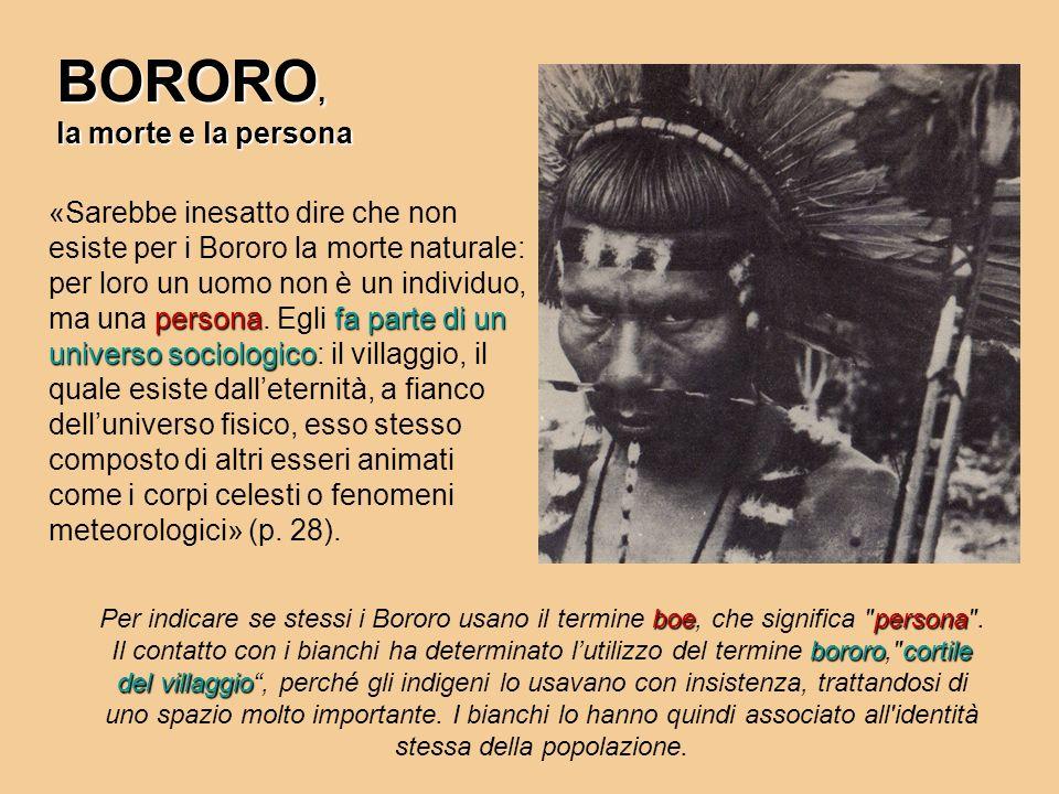 BORORO, la morte e la persona personafa parte di un universo sociologico «Sarebbe inesatto dire che non esiste per i Bororo la morte naturale: per lor