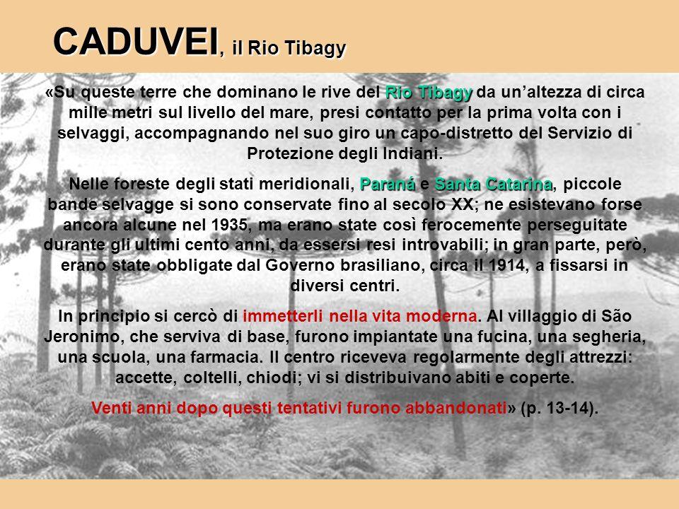 Rio Tibagy «Su queste terre che dominano le rive del Rio Tibagy da unaltezza di circa mille metri sul livello del mare, presi contatto per la prima vo
