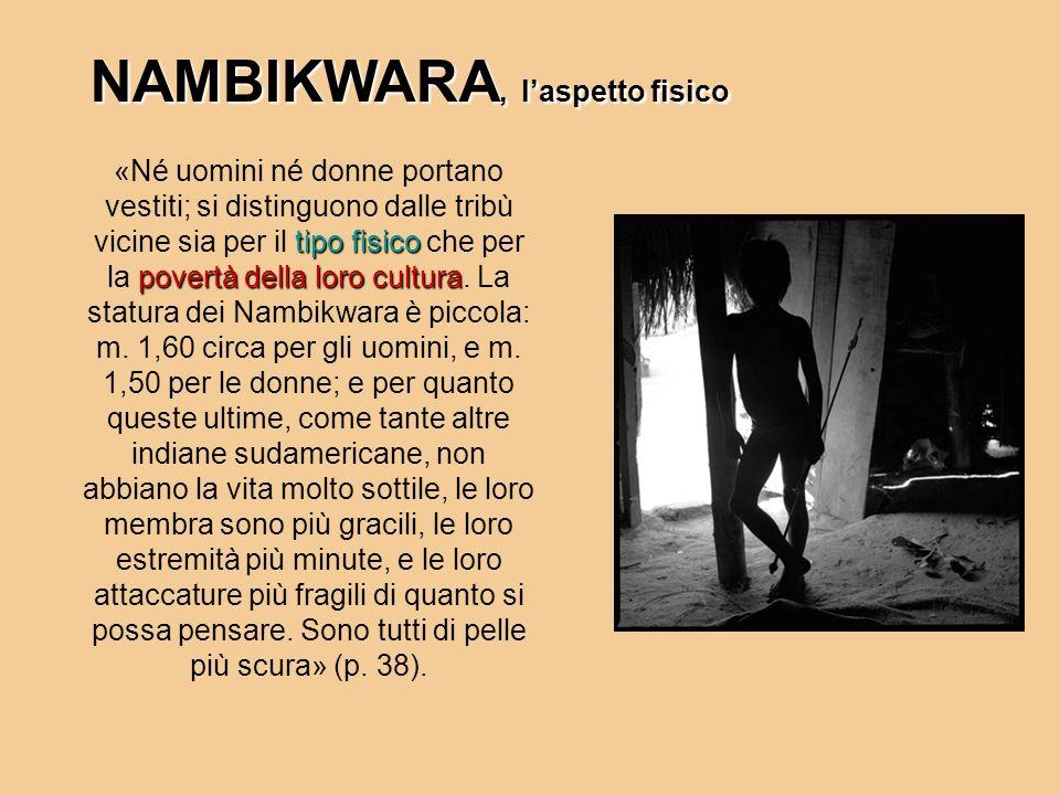 NAMBIKWARA, laspetto fisico tipo fisico povertà della loro cultura «Né uomini né donne portano vestiti; si distinguono dalle tribù vicine sia per il t