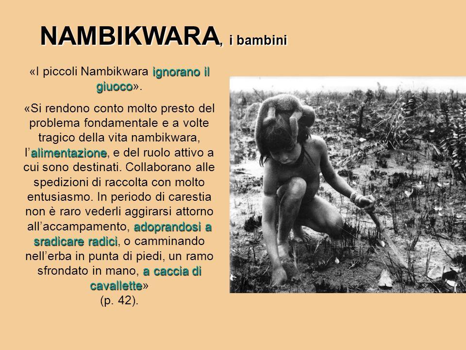 NAMBIKWARA, i bambini ignorano il giuoco «I piccoli Nambikwara ignorano il giuoco». alimentazione adoprandosi a sradicare radici a caccia di cavallett