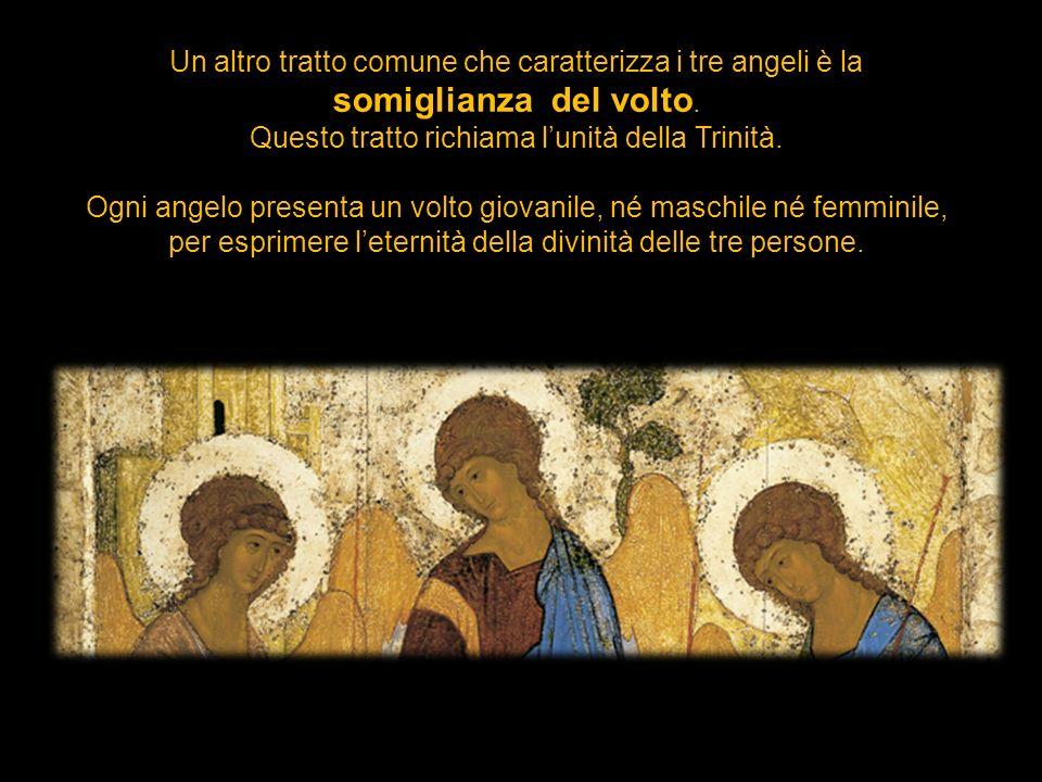 Un altro tratto comune che caratterizza i tre angeli è la somiglianza del volto. Questo tratto richiama lunità della Trinità. Ogni angelo presenta un