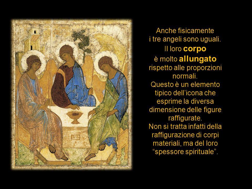 Anche fisicamente i tre angeli sono uguali. Il loro corpo è molto allungato rispetto alle proporzioni normali. Questo è un elemento tipico dellicona c