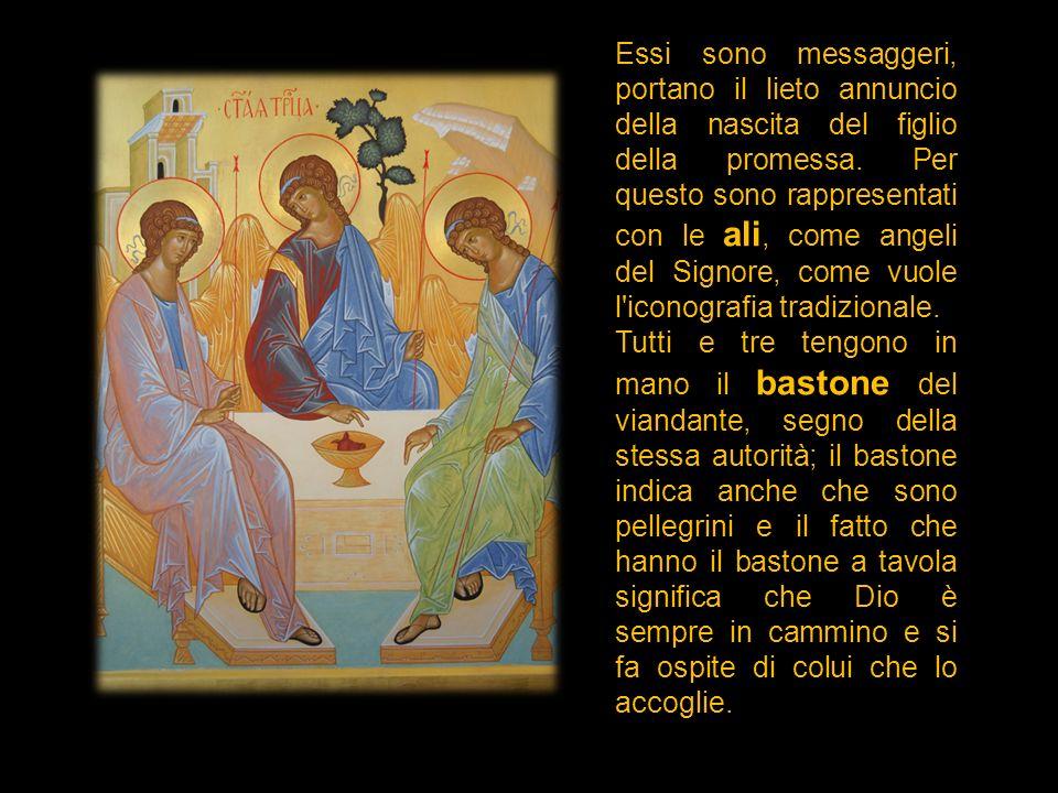 Essi sono messaggeri, portano il lieto annuncio della nascita del figlio della promessa. Per questo sono rappresentati con le ali, come angeli del Sig