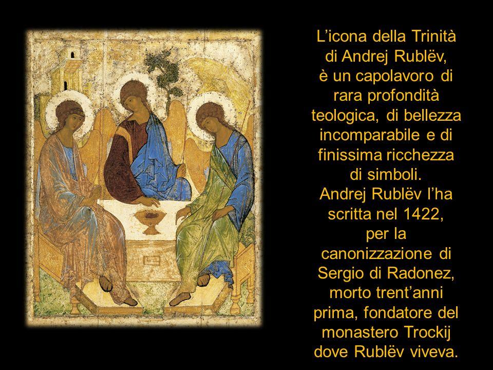 Licona della Trinità di Andrej Rublëv, è un capolavoro di rara profondità teologica, di bellezza incomparabile e di finissima ricchezza di simboli. An