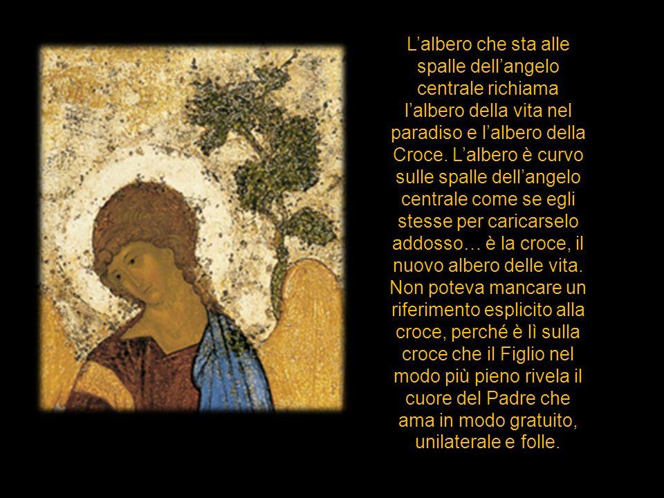 Lalbero che sta alle spalle dellangelo centrale richiama lalbero della vita nel paradiso e lalbero della Croce. Lalbero è curvo sulle spalle dellangel